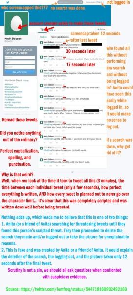 Sarkeesian'a atılan tehdit mesajlarının sahte olduğunu iddia eden bir analiz.